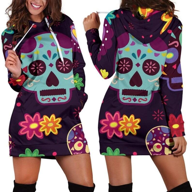 Muerte Skulls and Flowers Hoodie Dress