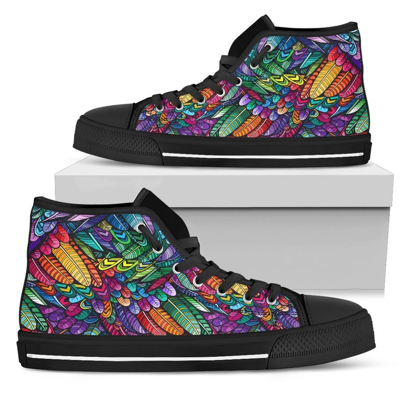 Colorful High Top Handmade Crafted Bright Colorful All Star Canvas Shoes Hindu Indian Streetwear Festival Hippie