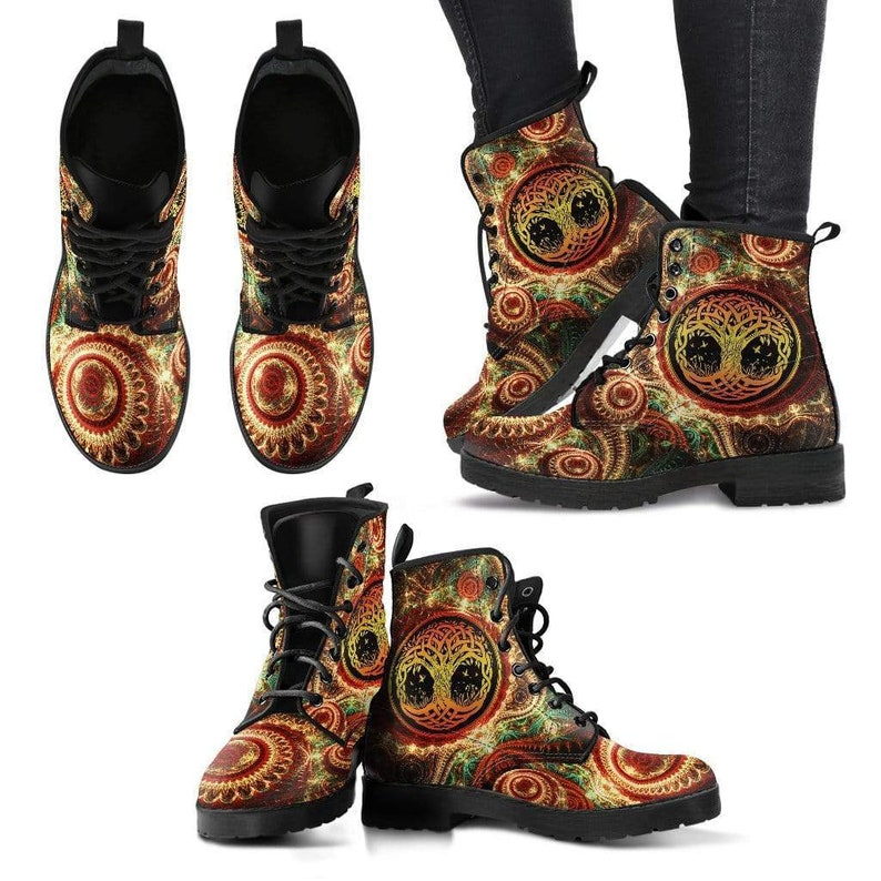 Streetwear Hippie Tree Of Life Bright Colorful Vegan Leather Doc Marten Lace up Boots Handmade Boots Womens Leather Boots