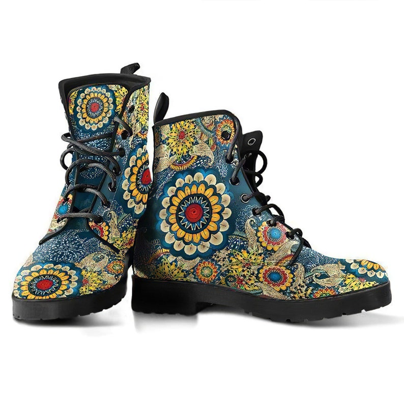 Doc Marten Festival Boots Handcrafted Boots Vegan Leather Mandala Boots Leather Boots Women Bohemian Boots Fractal Flower Hippie