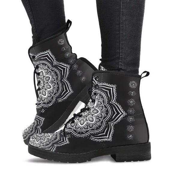 Combat Style Boots Vegan Leather Galactic Futuristic Ganesh Mandala Women/'s Boots Chakra Zen Yoga Spiritual Fatima