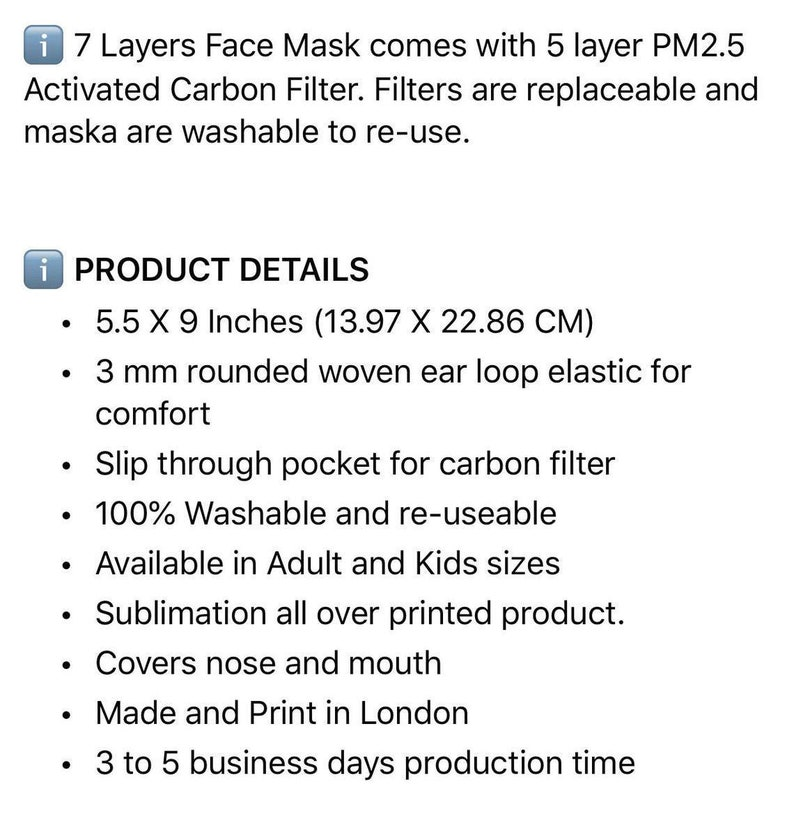 Custom Face Mask PM 25 Replaceable Fashion Masks Reusable Dust Filters Adult Kids Masks 7 Layer Face Mask Facemask with Filter