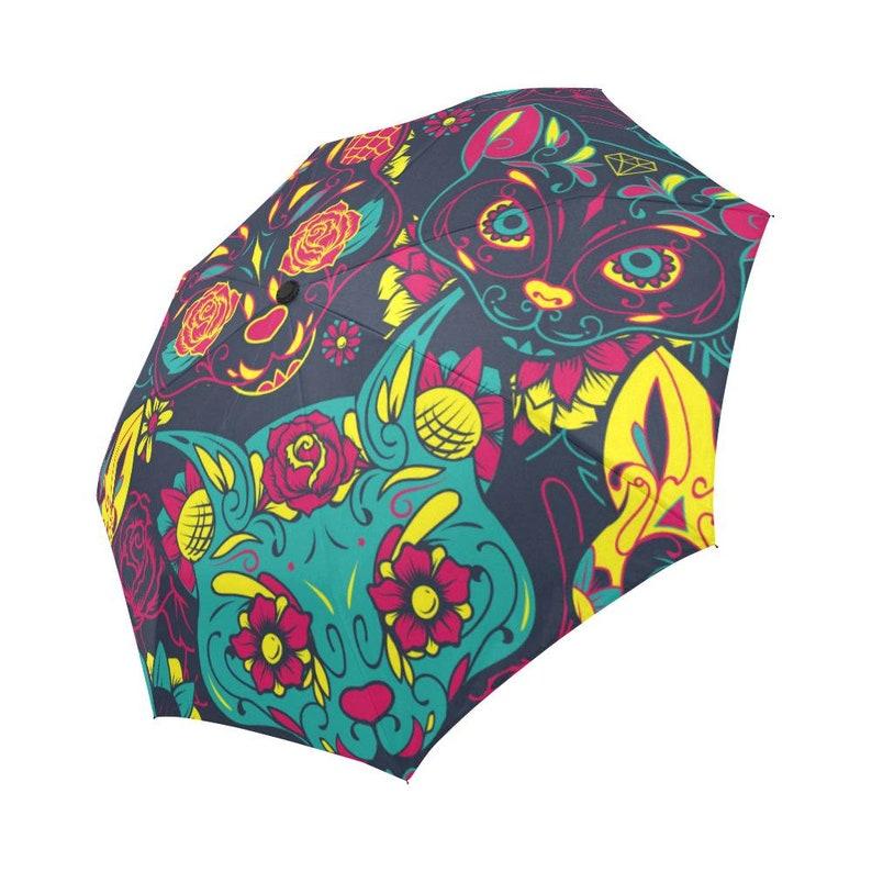 Custom Rain Umbrella Umbrella Sugar Skull Cats Foldable Umbrella Rain Gear Weather Day Of The Dead Sun Beach Parasol