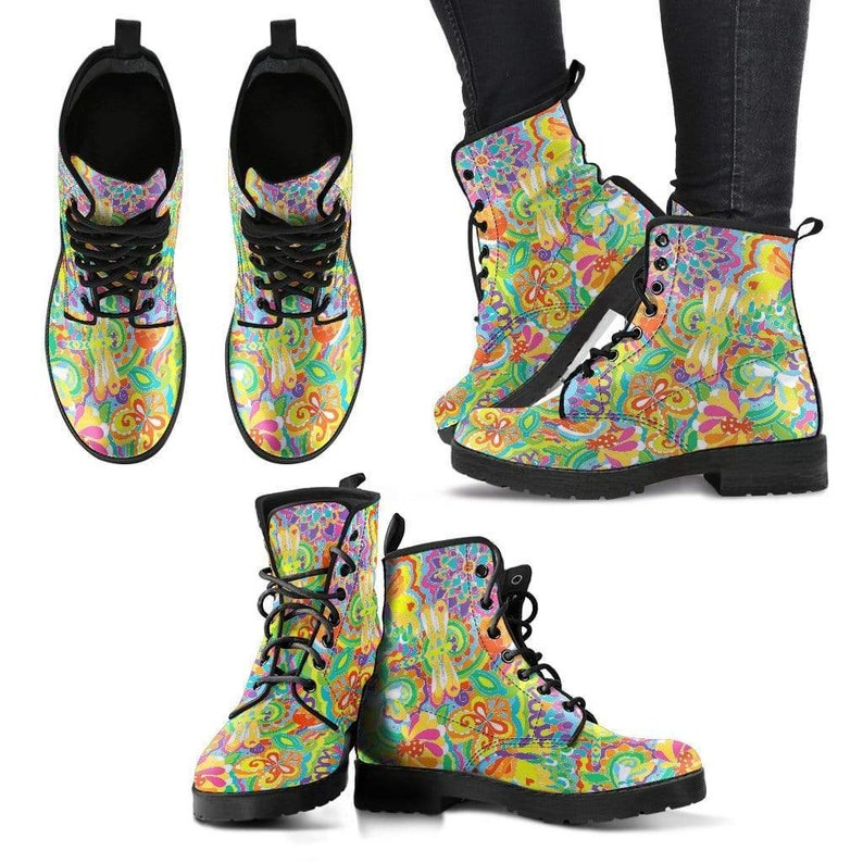 Colorful Dragonfly Rain Boots Custom Leather Boots Womens Leather Boots Lace Up Boots Bright Colorful Vegan Leather Handmade Boots