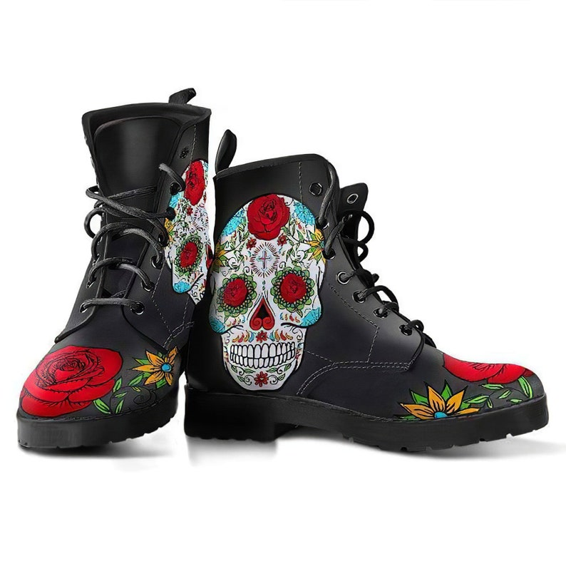 Sugar Skull Womens Leather Boots skul Boots Handmade Shoes image 0