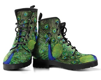 Peacock boots, Womens Leather Boots, Handmade Crafted, Vegan Leather, Hippie, Rain Boots, Festival, Streetwear, Classic Boot