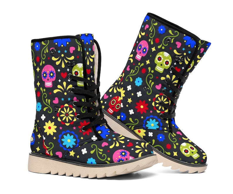Sugar Skull Polar Boots Hippie Lace Up Boots Women's image 0