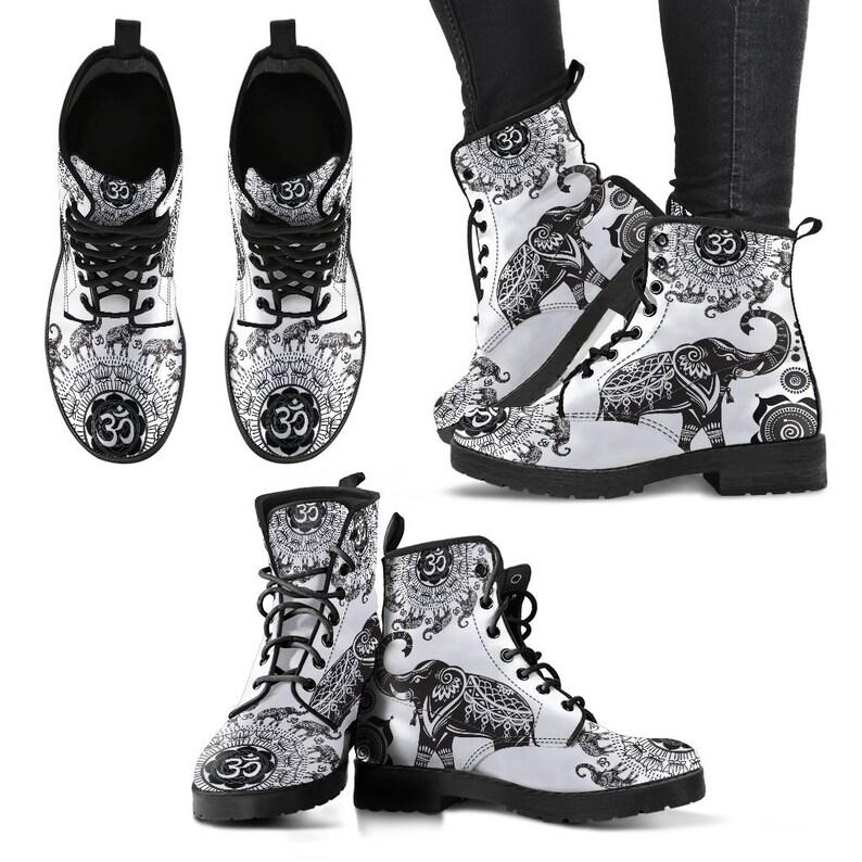 Women/'s Boots Vegan Leather Spiritual Ganesh Hippie Gypsy Fairy Combat Style Boots Mandala Geometric Ohm Elephant Boho