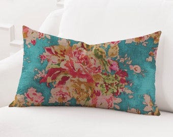 Floral Lumbar Pillow Etsy