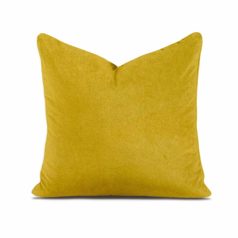 Dark Yellow Hand Stitched Velvet Cushion Cover