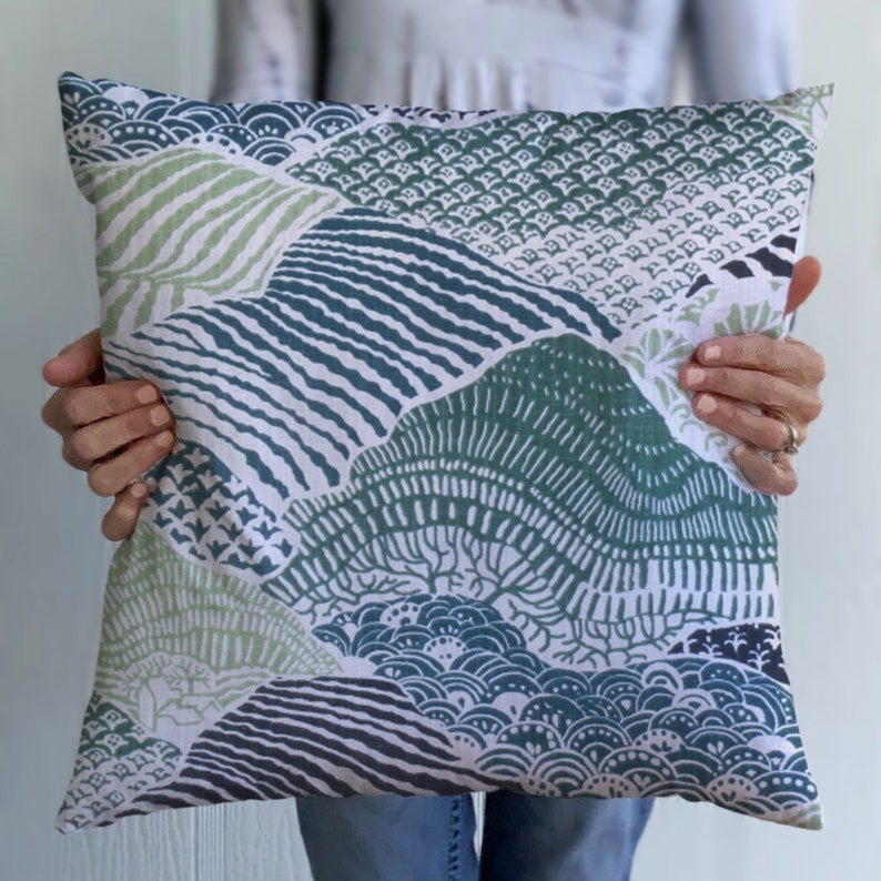 Blue Birds 24x24 Green Blue Chinoiserie Pillow Cover 20x20 Teal 26x26 Abstract Mountains Windsor Pillow 22x22 18x18