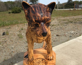Items similar to wolf head wolf bust wolf wall art chainsaw