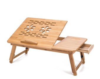 Multi Function Bamboo Lapdesk Table Laptop Stand Breakfast Trays Bed Serving Tray with Adjustable Legs