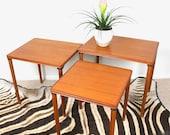 60s Vintage TEAK DANISH MODERN Nesting Side Tables Mid Century Modern Table 1960s