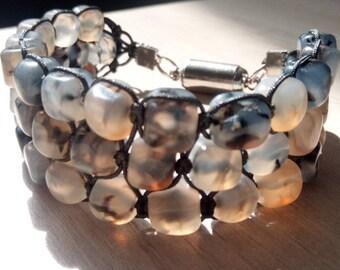 Sublime Bracelet Tri-band agate cube dragon vein