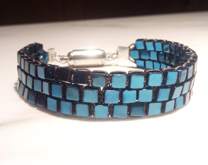 Blue hematite cuff