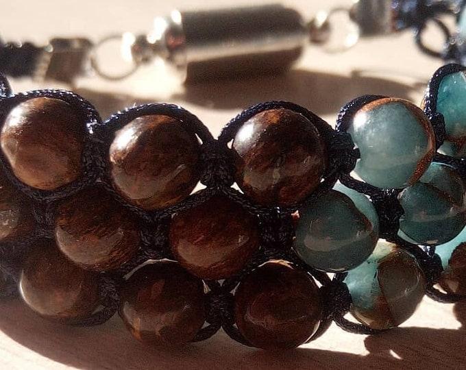 Bracelet Tri-Band made of Bronzite and jade Nepalese 6 mm with magnetic clasp