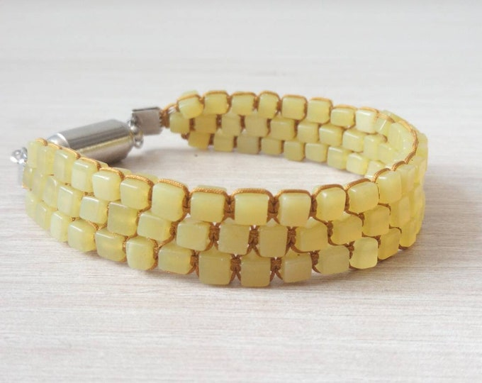 Sublime Cube Tri-band bracelet in yellow aventurine