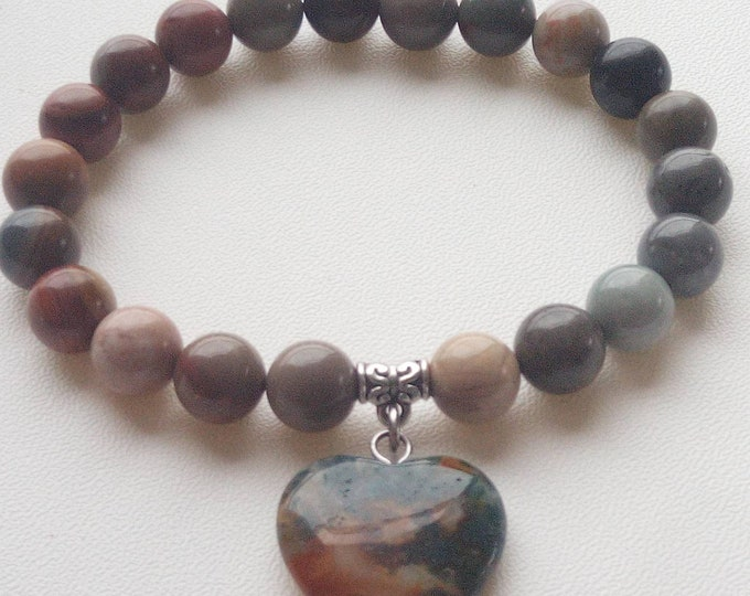 Beautiful bracelet with pendant ocean Jasper heart shape
