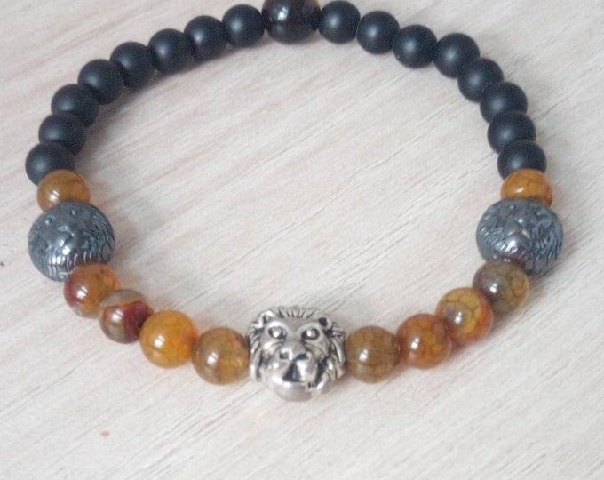 Gorgeous Simba bracelet in Onyx and Brown Dragon vein agate