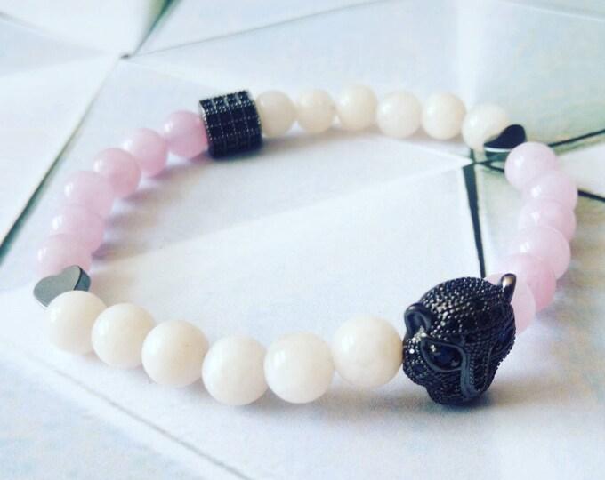 Sublime Bagheera bracelet in pink aventurine