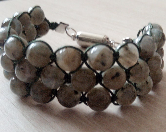 Bracelet Tri-Band Labradorite 8 mm with magnetic clasp