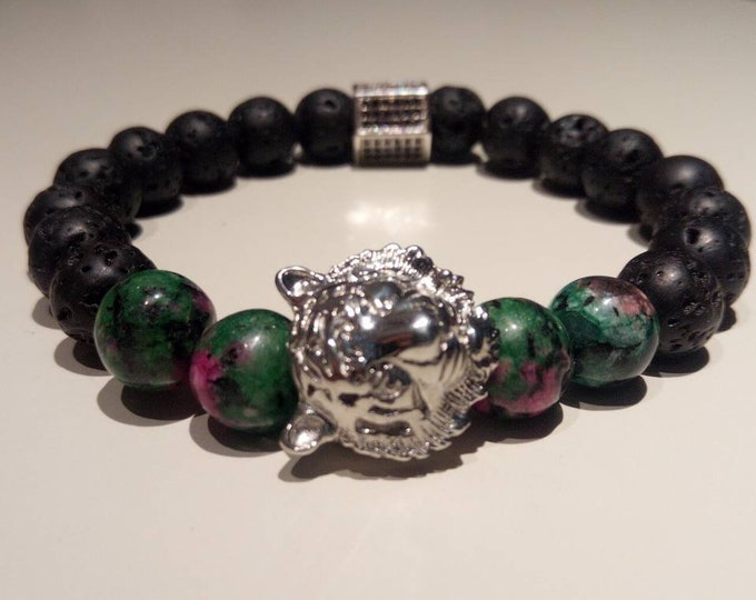 Lava and zoizite bracelet