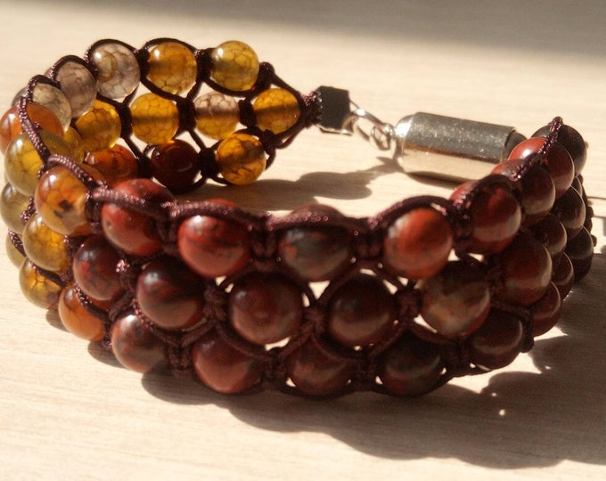 Sublime Bracelet Tri-band agate Brown dragon vein and Red Jasper