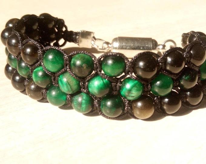 Sublime Tri-band Bracelet in Golden obsidian and Green Tiger eye