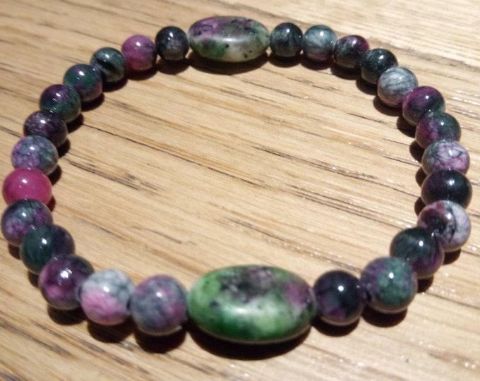 Tourmaline and zoizite bracelet