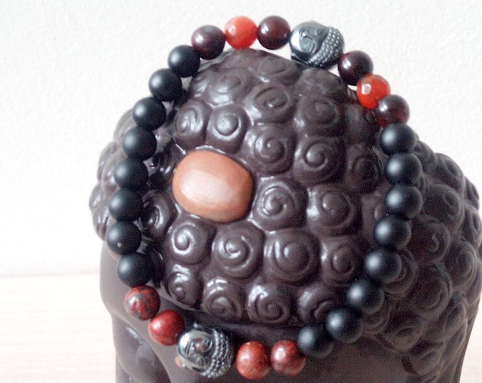 Sublime Buddha bracelets in Onyx and Red Jaspe