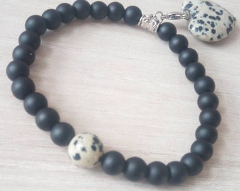 Dalmatian Jasper heart shaped beautiful onyx pendant bracelet