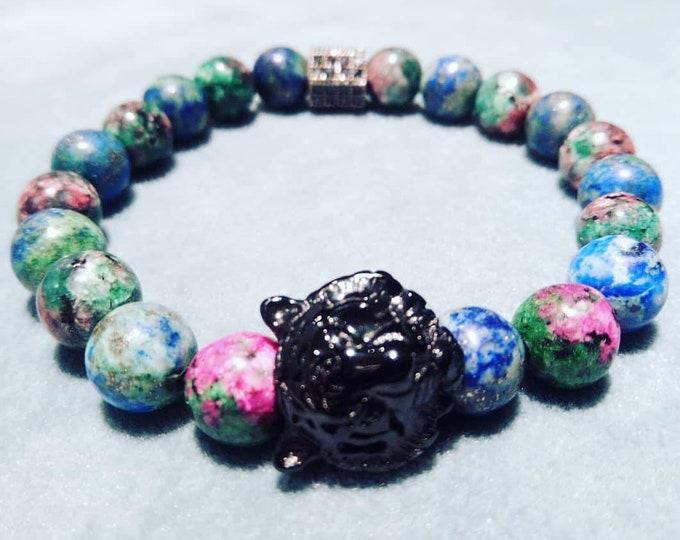 Malachite zoizite and lapis bracelet