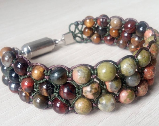 Sublime tri-band bracelet in unakite with a tiger eye mix and bull's eye