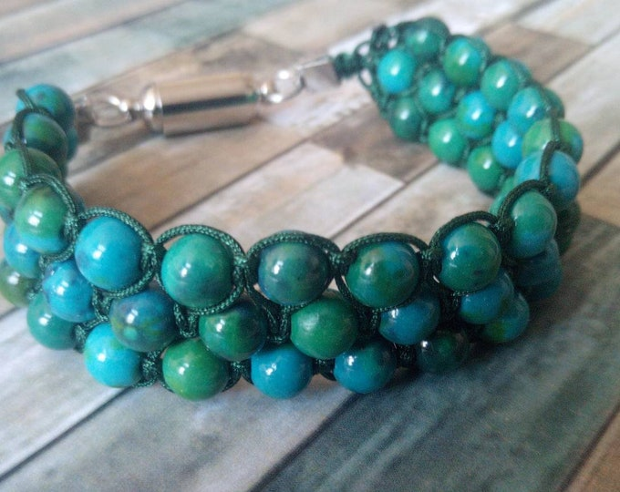Sublime Bracelet Tri-band chrysocolla with magnetic clasp