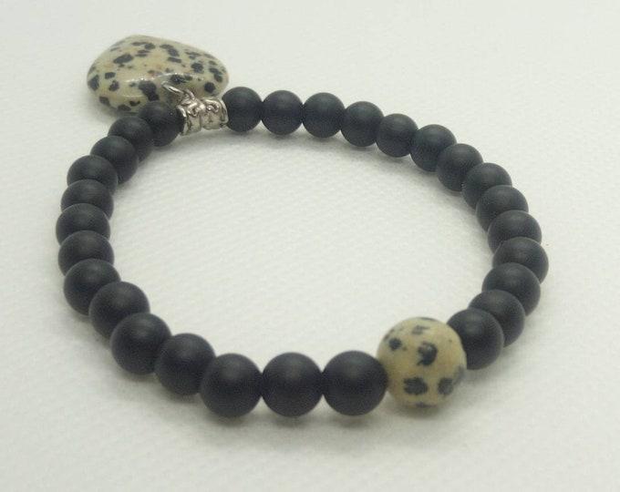 Dalmatian onyx and jasper bracelet