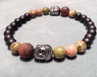 Bracelet in onyx and unakite