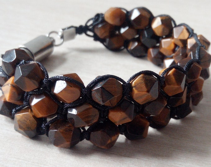 Tri-Band bracelet with magnetic clasp faceted Tiger eye
