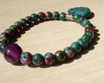 Bracelet handmade with Amethyst spacer zoizite and ocean Jasper heart pendant