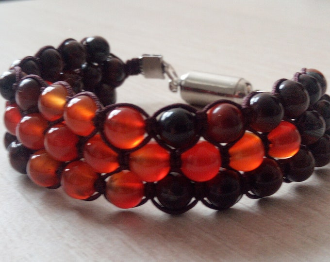 Tri-Band Agate and Tiger eye bracelet with magnetic clasp 6mm Red