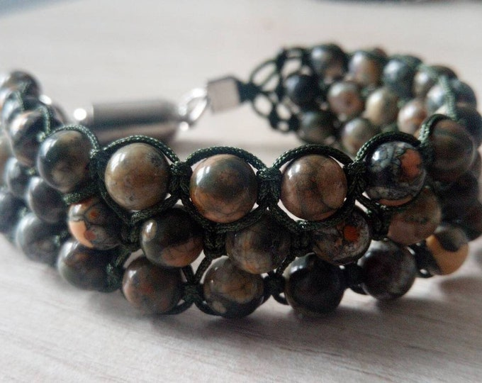 Gorgeous Tri-band Bracelet hand-made Jasper kambaba Africa with magnetic clasp