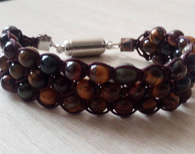 Gorgeous Tri-band Bracelet handmade mix of Tiger's eye, Bull's eye + Hawkeye with a magnetic clasp