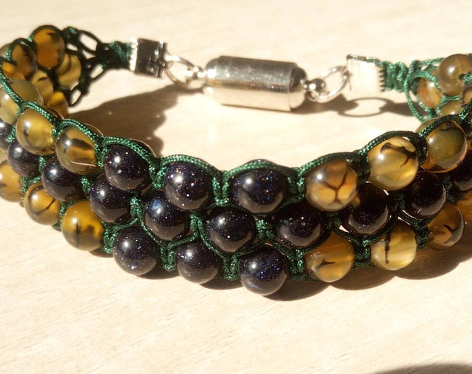 Sublime BlueSand Tri-band Bracelet, and Brown dragon vein Agate
