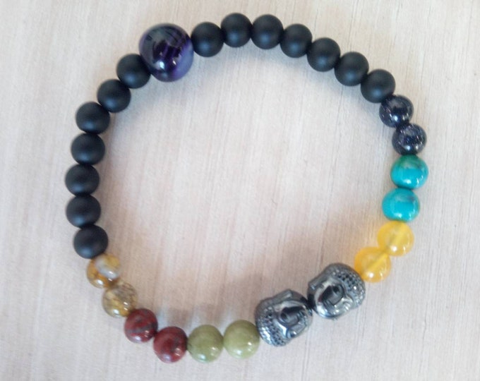 Sublime bracelet 7 chakras Buddha head