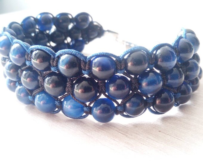 Tri-band cuff in blue tiger's eye