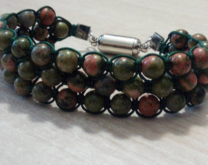 Gorgeous Tri-band Bracelet hand-made unakite with magnetic clasp