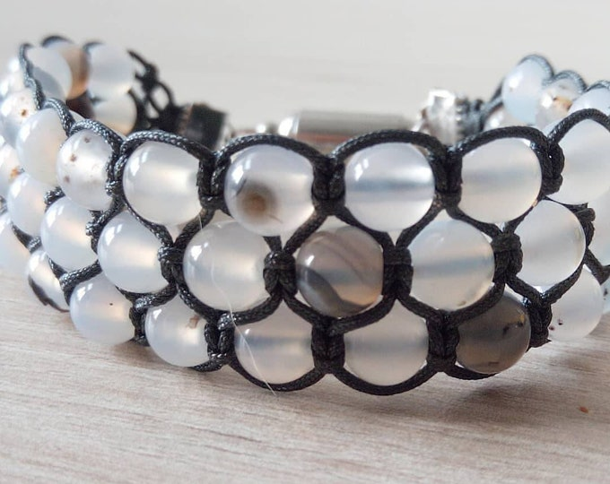 Sublime Bracelet Tri-Band agate mottled with magnetic clasp