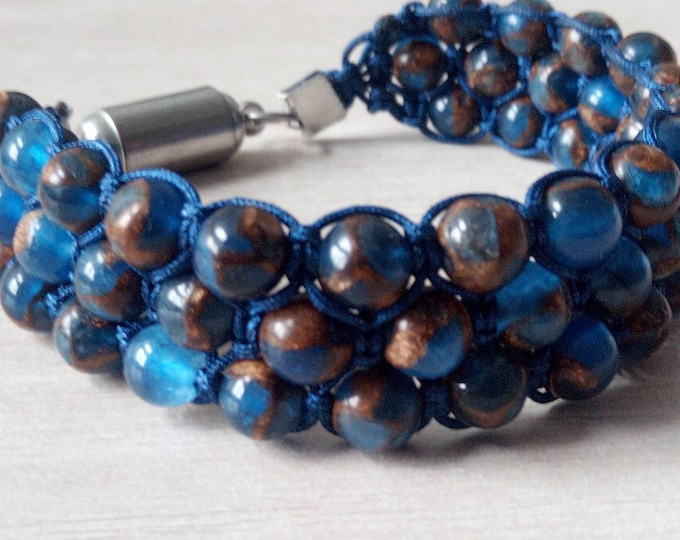 Gorgeous Tri-band Bracelet handmade in Nepalese sky blue Jade with magnetic clasp
