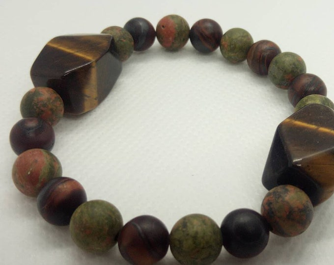 Unakite bracelet and tiger eye