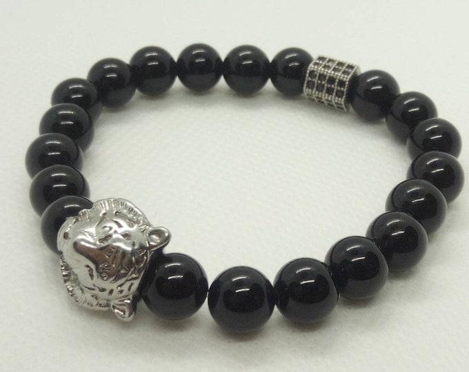 Brilliant obsidian bracelet